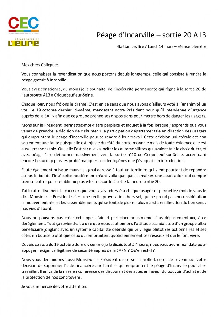 Intervention SAPN Péage Incarville