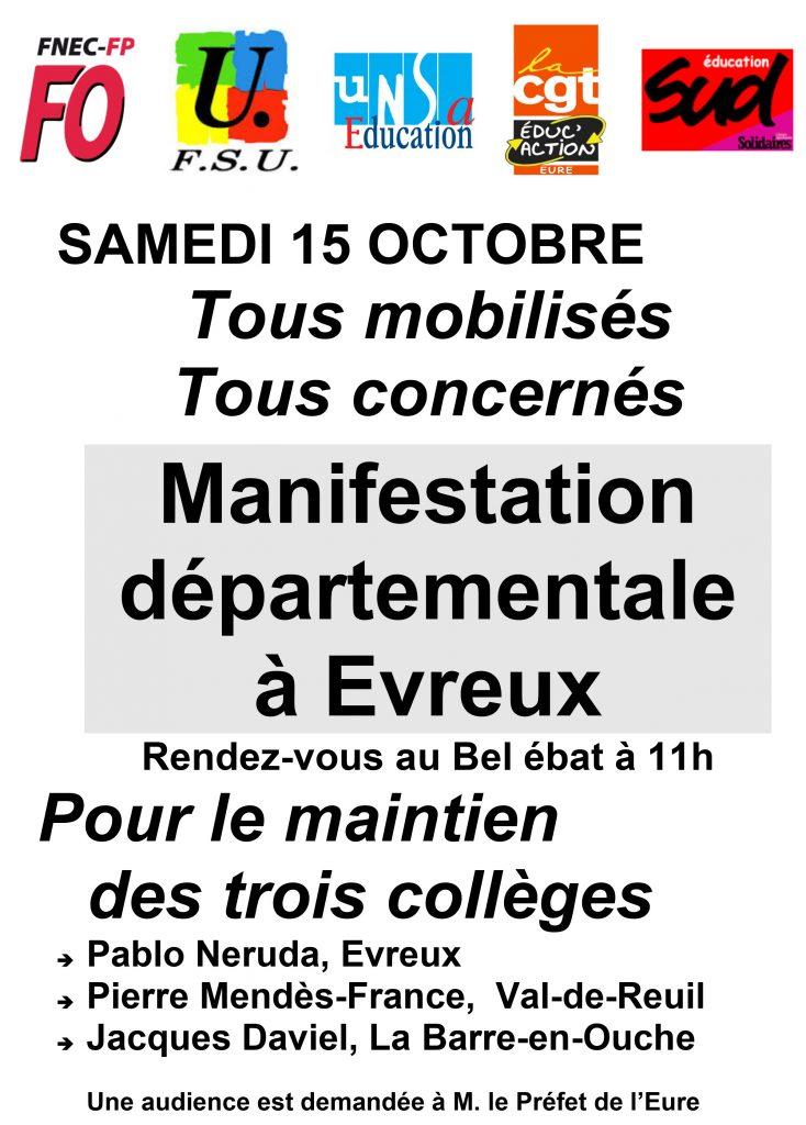 appel intersyndical 27-SAMEDI 15 OCTOBRE